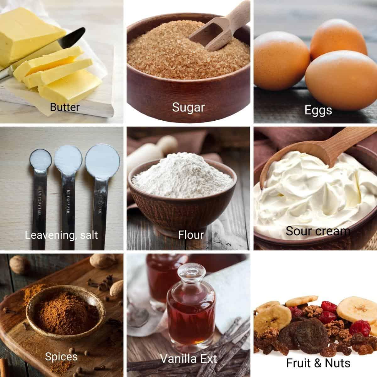 Ingredients for fruitcake recipe.