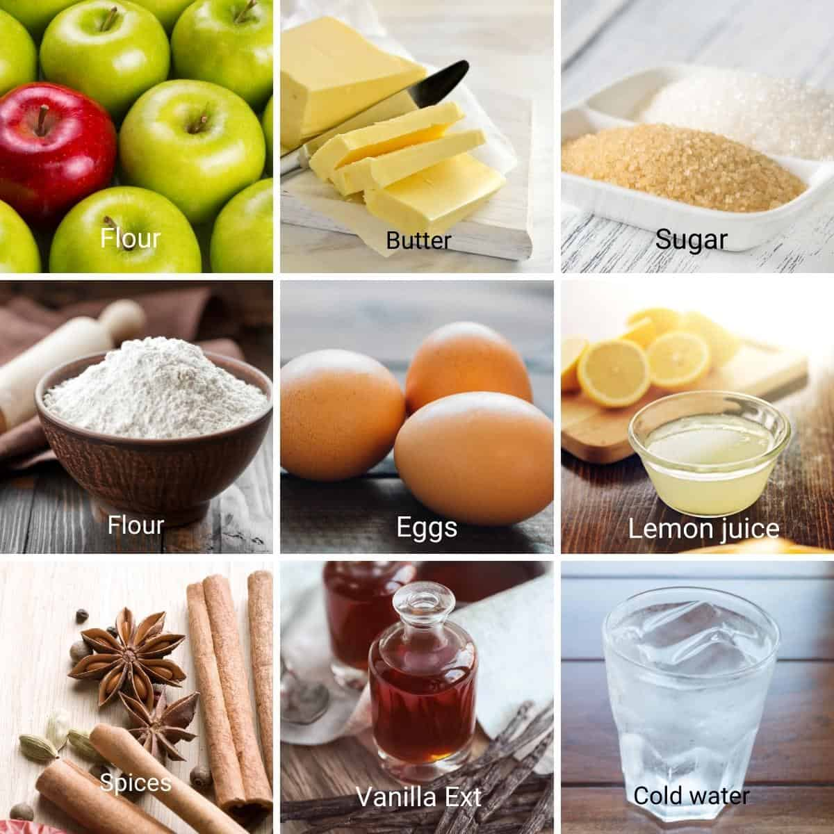 Ingredients for apple pie recipe.