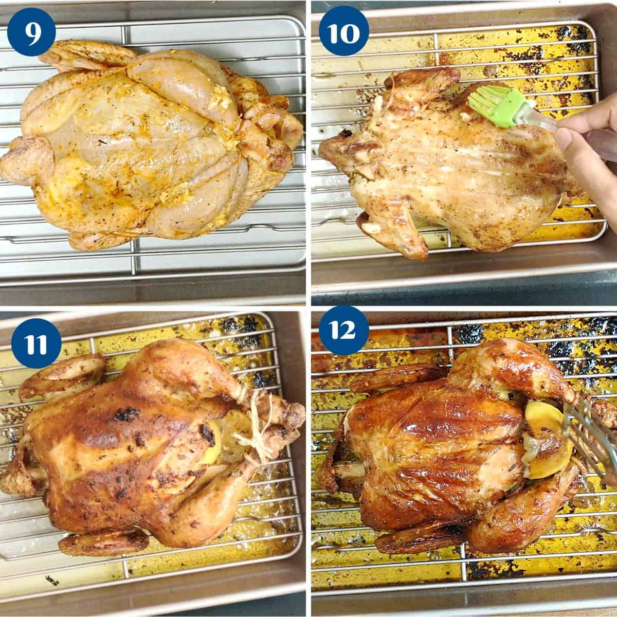 Progress pictures roasting the whole chicken in garlic butter marinade.