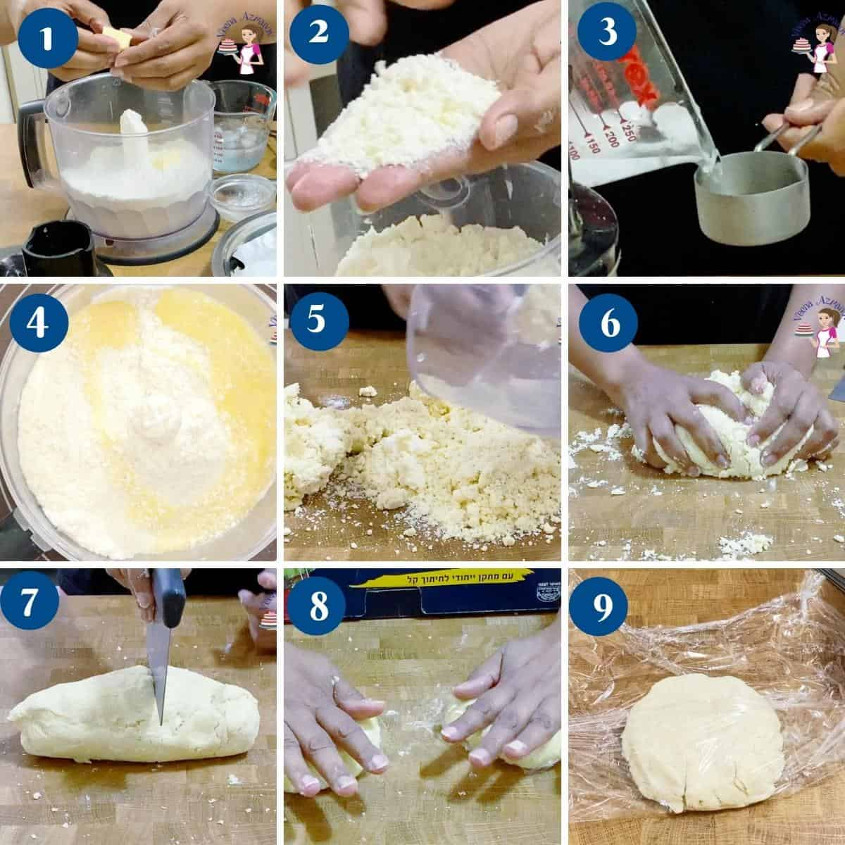 Progress pictures collage making the double pie crust.