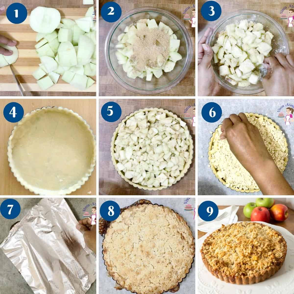 Step by step pictures how to make apple crumble tart pie.