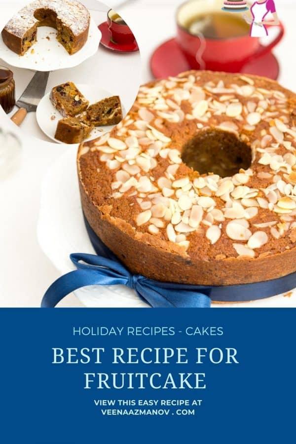 Pinterest image - recipe for fruitcake.
