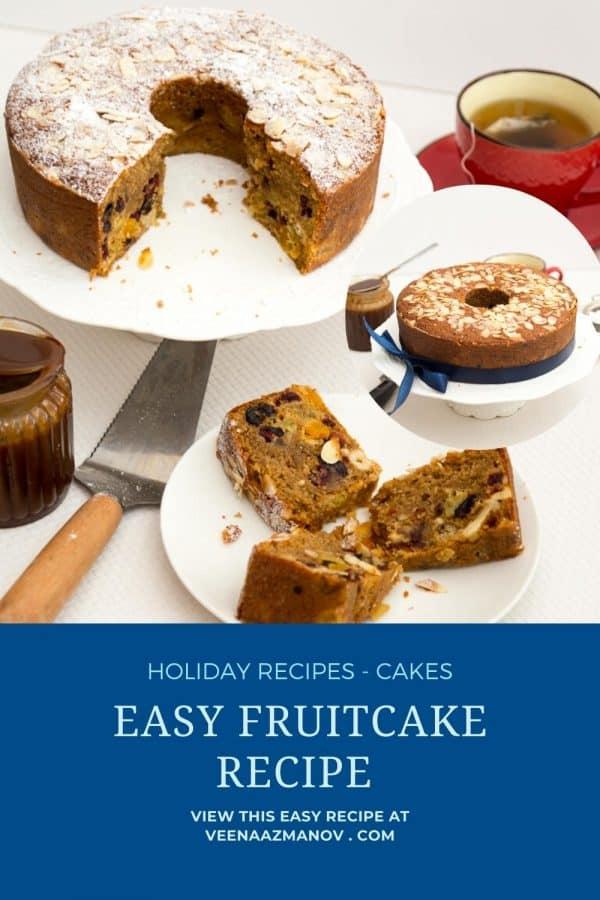 Pinterest image easy recipe for fruit cake.