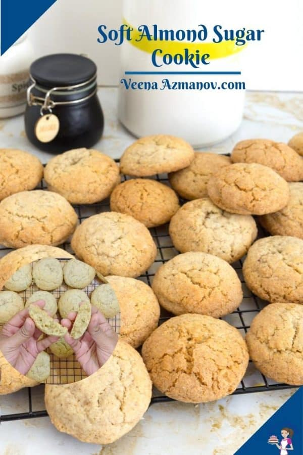 Almond cookies on a cooling rack.