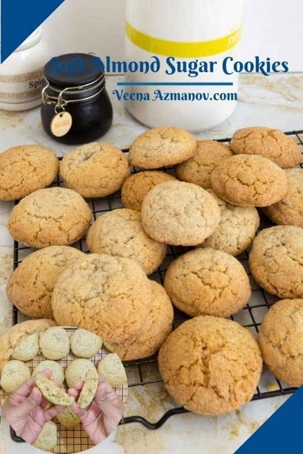 Almond sugar cookies on a cooling rack.
