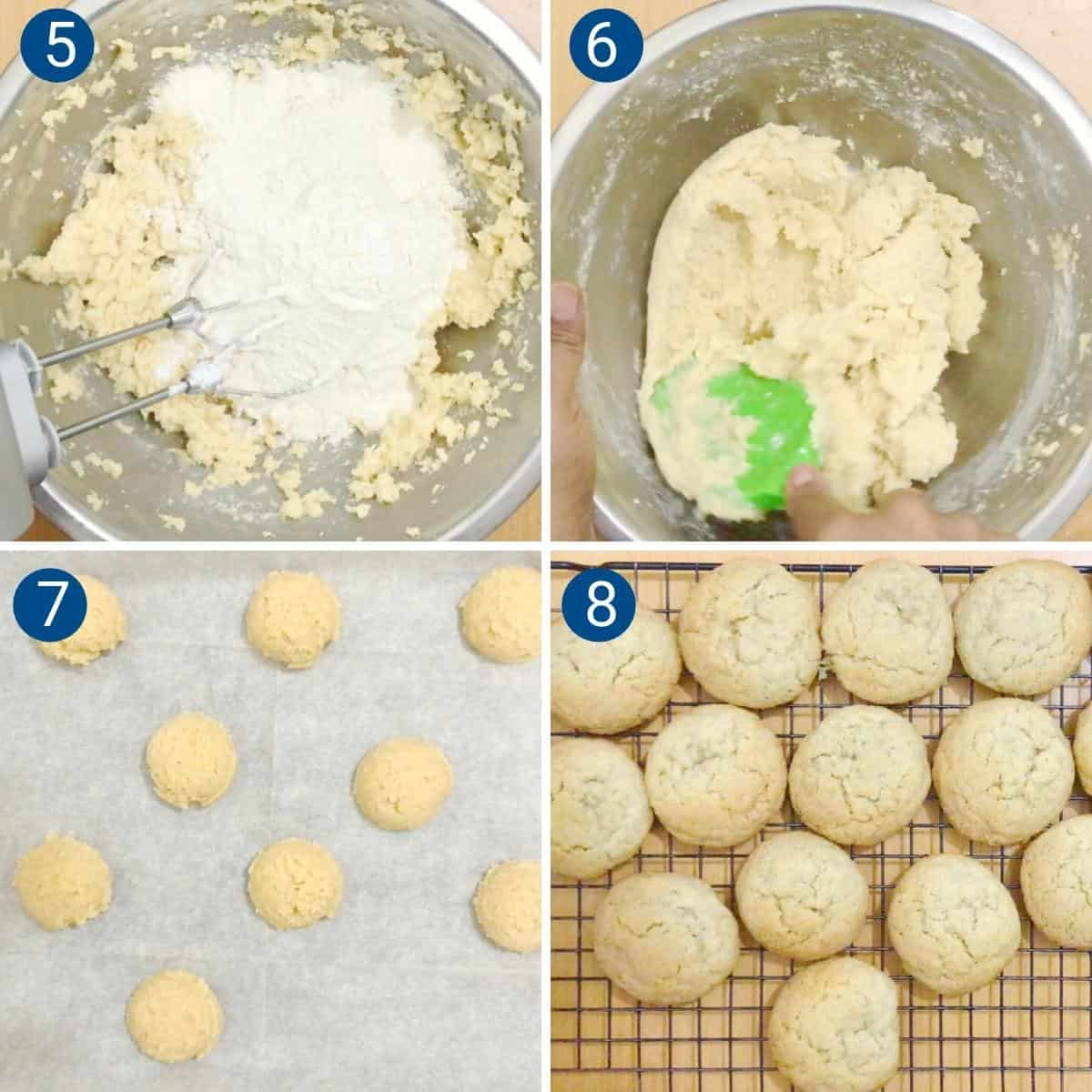 Progress pictures collage for almond sugar cookies