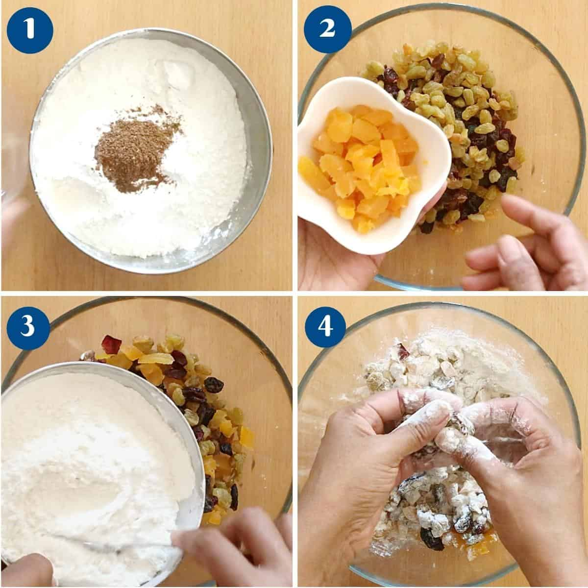 Step by step pictures combine the fruit and nuts for cake.