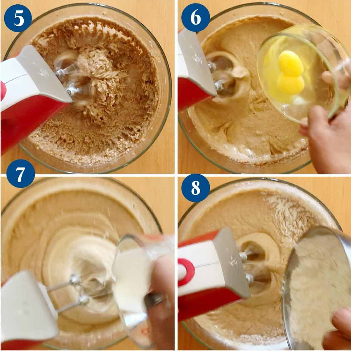 Step by step pictures making the batter for fruit cake.