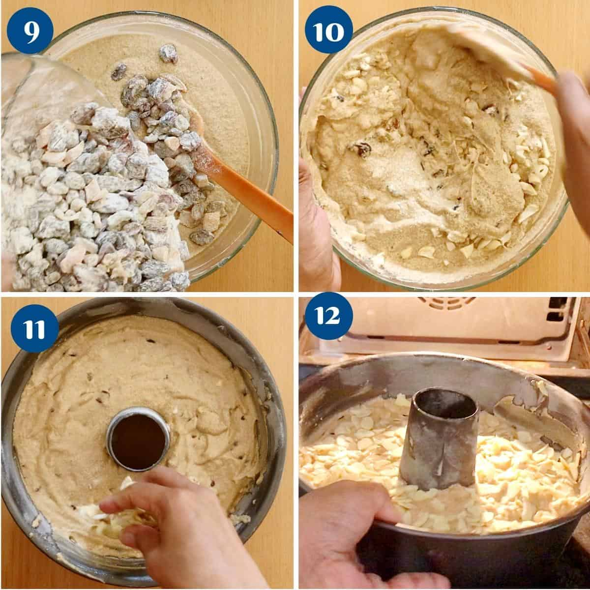 Step by step pictures baking the fruit cake in a tube pan.