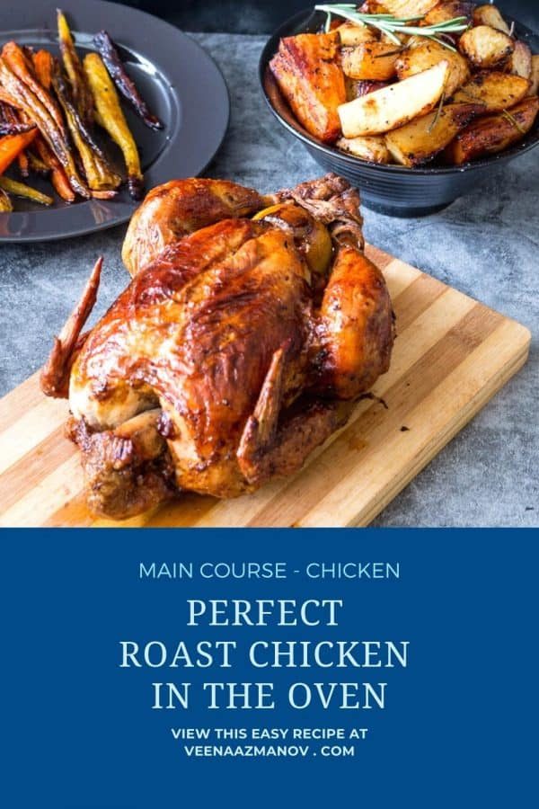 Pinterest image for whole roasting chicken.