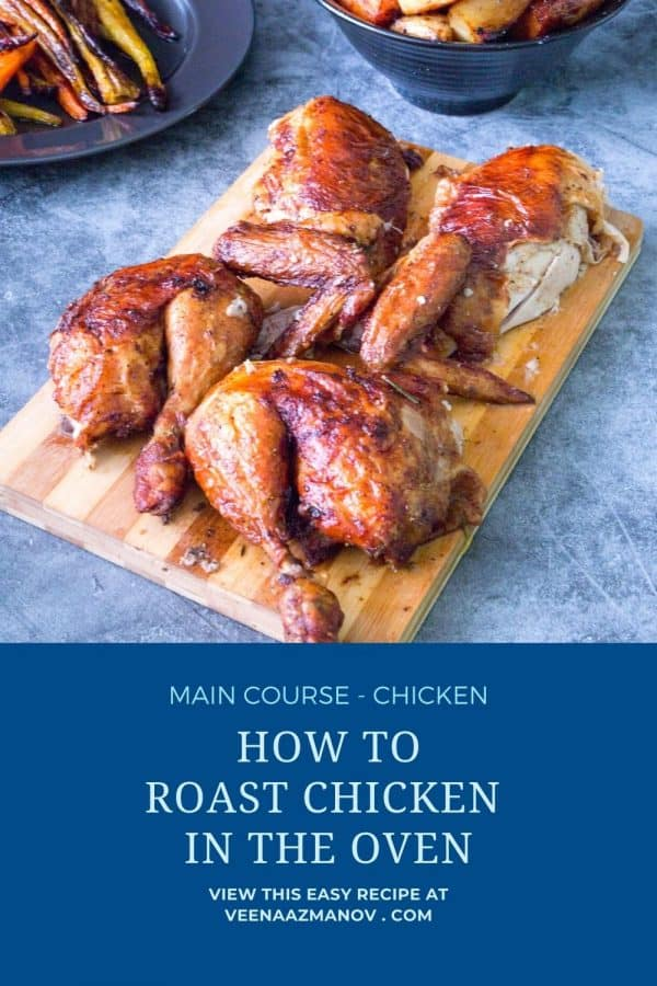 Pinterest image how to roast a chicken in the oven.