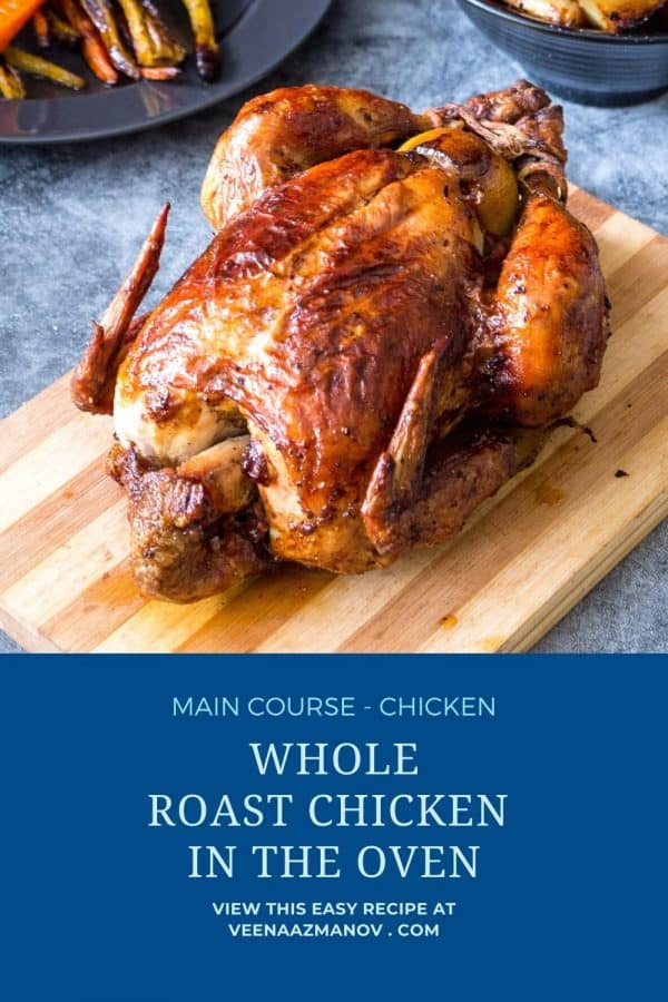 Pinterest image for whole roast chicken in oven.