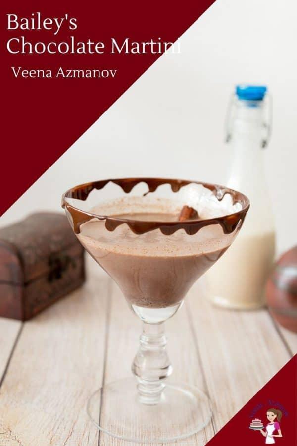 This martini cocktail uses baileys Irish cream, vodka, espresso and chocolate