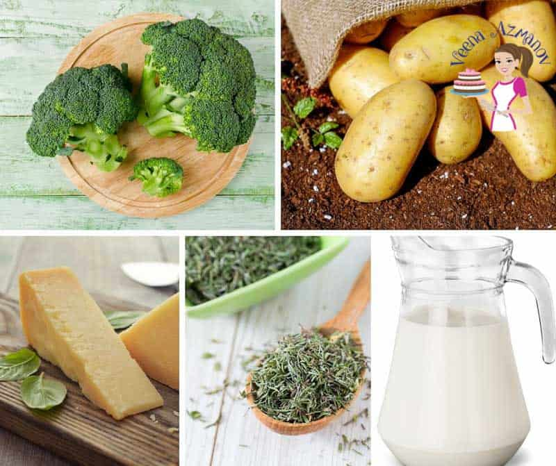 A collage of the ingredients needed to make broccoli soup.