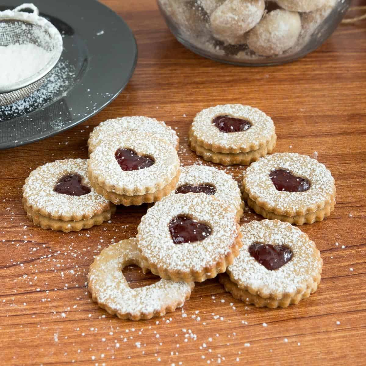 Linzer cookies on a wooden table