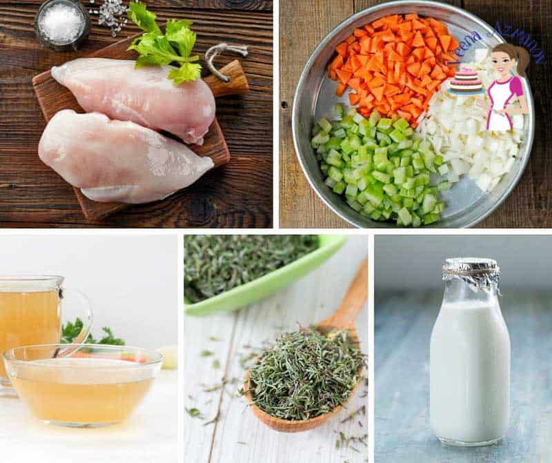 A collage of the ingredients for making chicken pot pie soup.