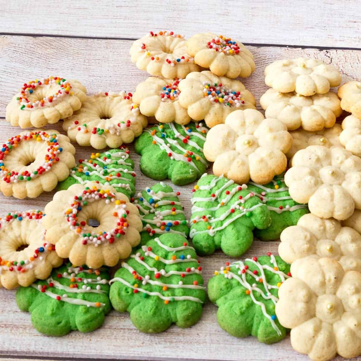 Christmas Spritz Cookies on a wooden table