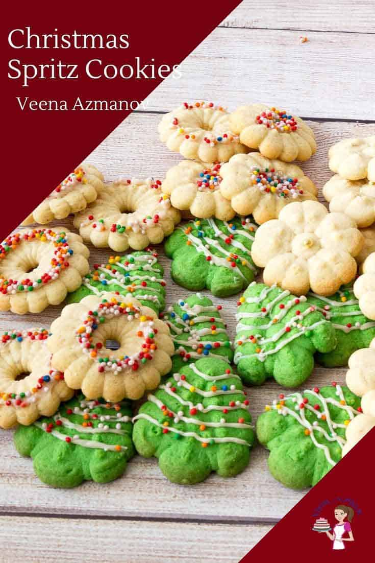 Christmas tradition whether you use a cookie press or piping bag. These buttery shortbread cookies are sure to brighten your Christmas cookie platter. Today, I share with you my no-fail recipe and method with tips to make sure you have perfect Christmas Spritz Cookies every single time. #spritzcookies #christmasspritzcookies #christmascookies #spritzsugarcookies #cookieexchange #spritzrecipe via @Veenaazmanov