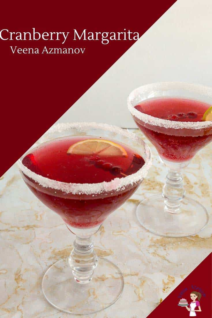 Did you know that cranberry juice mixed with a little alcohol makes such a wonderful combination together? This cranberry margarita needs only 4 ingredients but a few of these around can help bring your party to life. #cranberry #cocktail #cranberrycocktail #christmascocktails via @Veenaazmanov