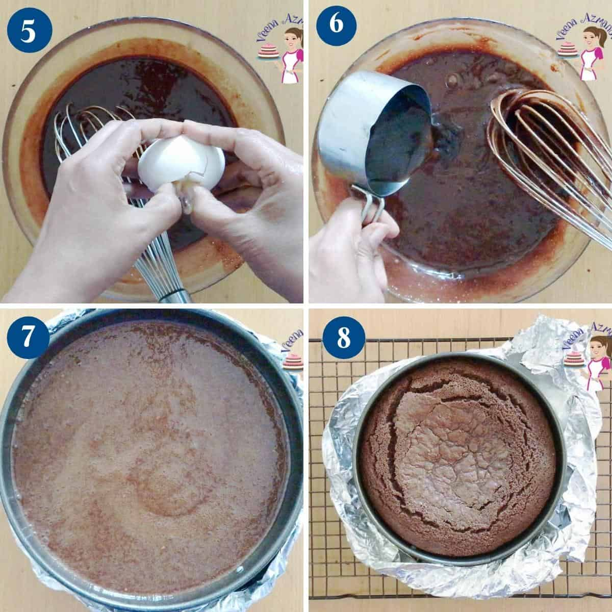 Progress pictures collage for gluten-free chocolate cake.