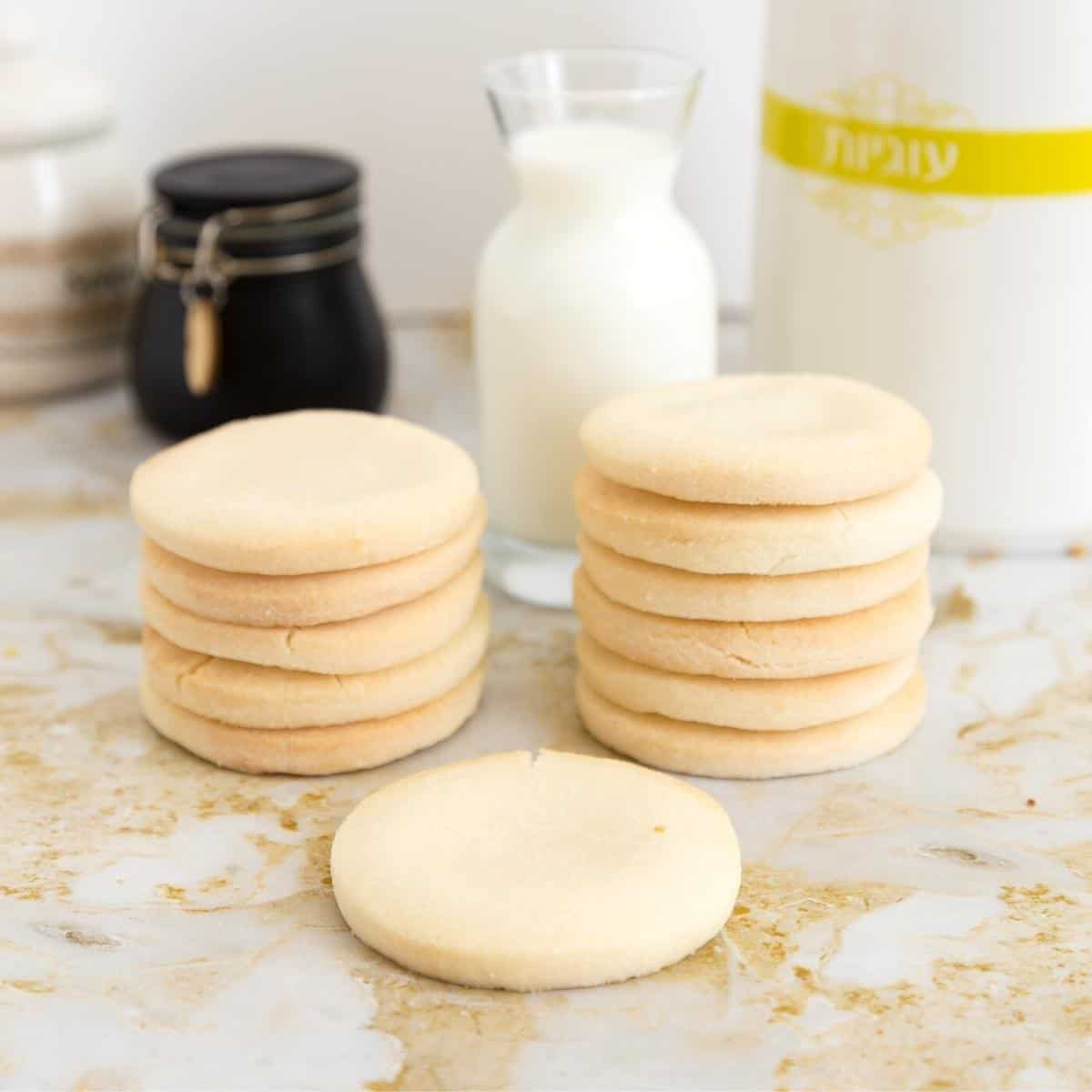 a stack of rice flour cookies gluten-free