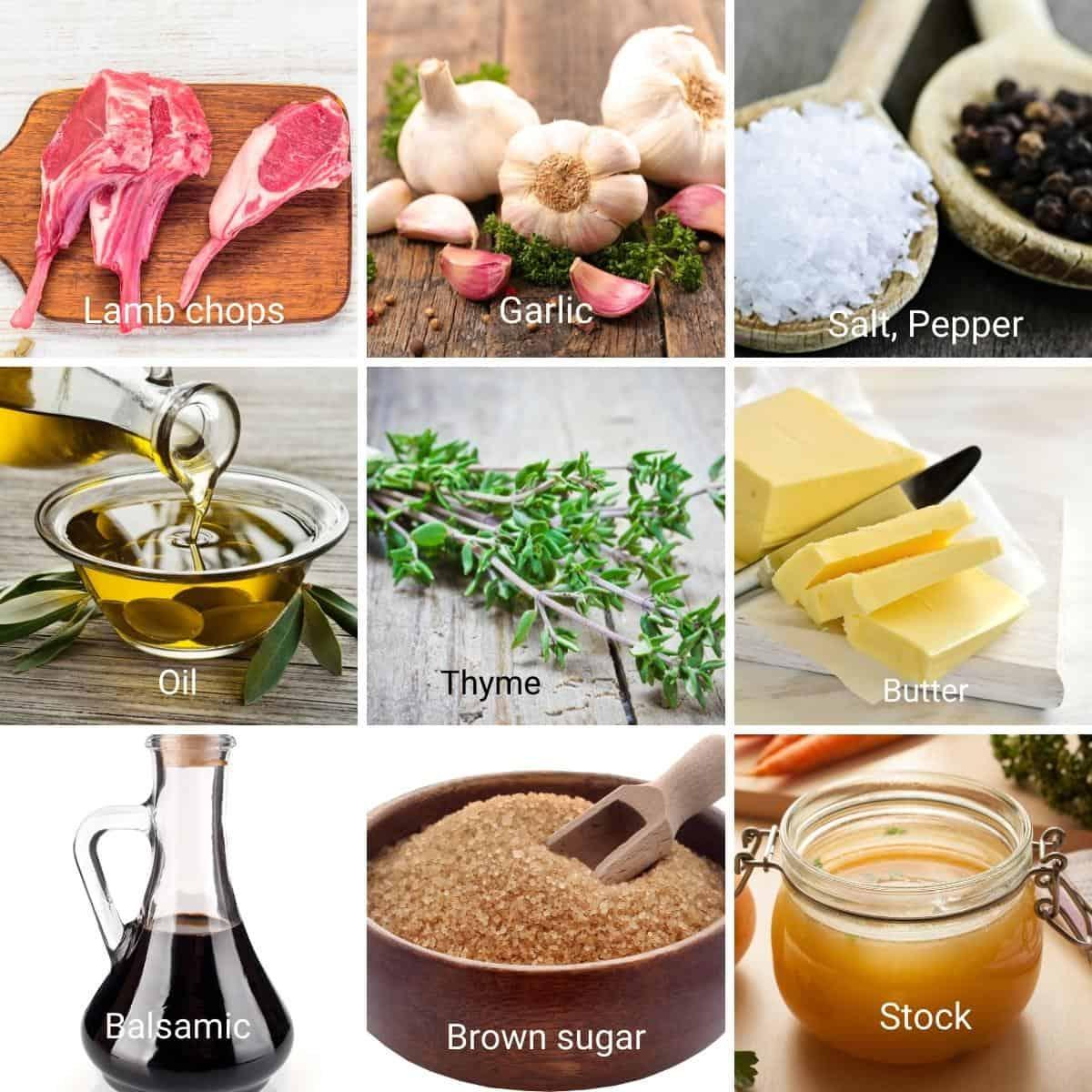 Ingredients to make lamb chops.