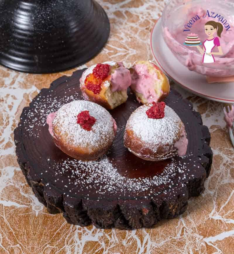 Learn to deep-fried doughnuts filled with raspberry and cream