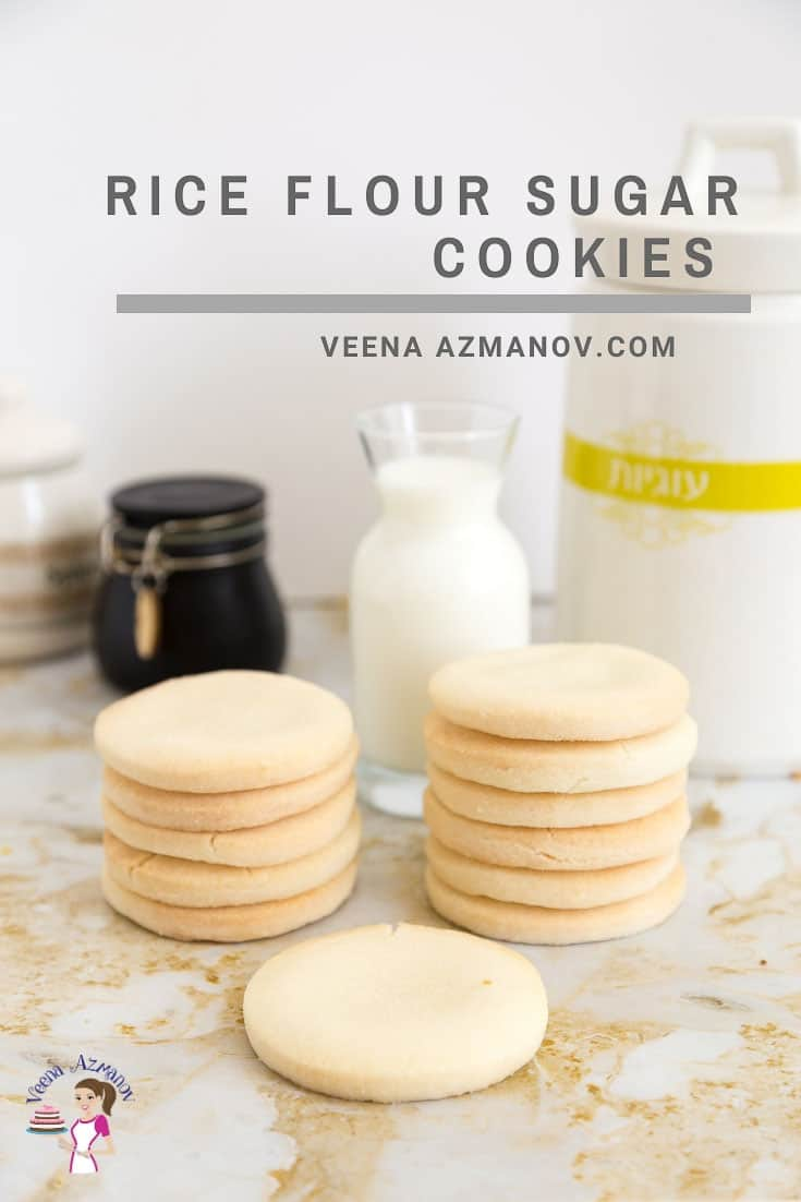These gluten-free sugar cookies are made using rice flour. The recipe has no eggs so the color of these cookies is also white. As kids, we called them 'snow white cookies'. Just like sugar cookies, these rice flour sugar cookies are crisp and crumbly. They hold their shape well and can be used to make beautifully frosted cookies. #riceflour #cookies #glutenfree #rice #sugarcookies #cookierecipes via @Veenaazmanov