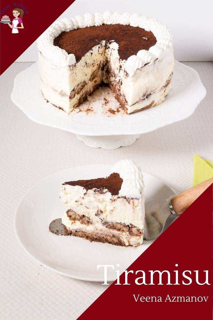 Bring this no-bake Tiramisu cake for your next celebration. Tiramisu is a no-bake Italian classic dessert with rich creamy mascarpone cream cheese layered over ladyfinger biscuits dipped in espresso and liquor. These layers of richness are perfect at any time of the year, especially when you want to entertain because you can make it ahead of time. #tiramisucake #tiramisu #cakerecipes #Italiantiramisu #Italiandesserts #caketiramisu via @Veenaazmanov