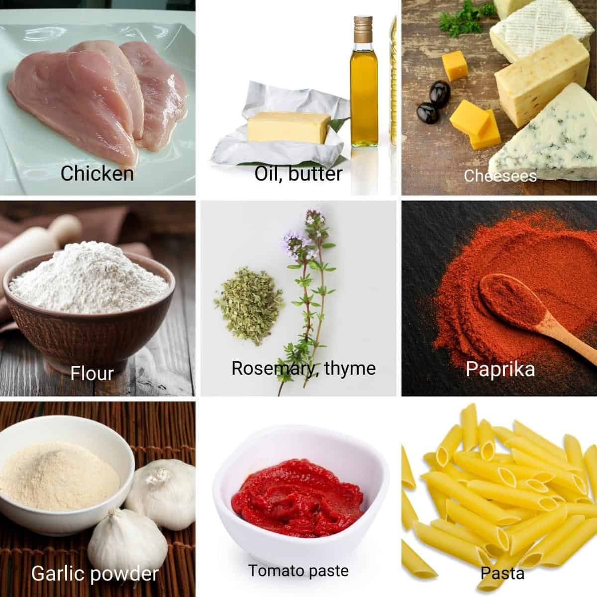 Ingredients shot collage for Pasta with chicken breast.