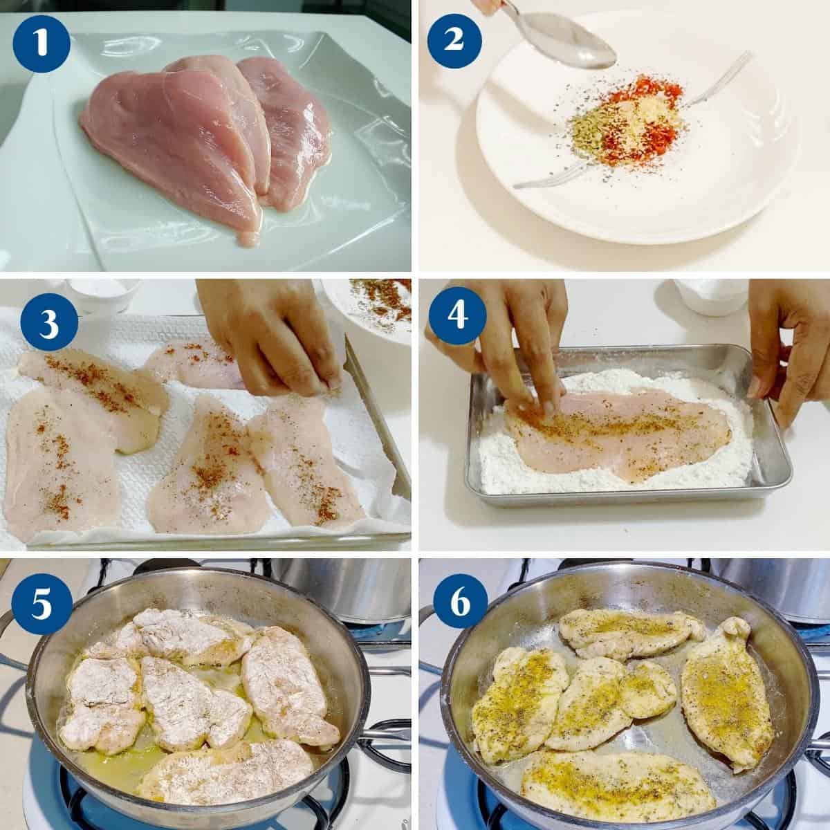 Progress pictures for chicken breast pasta.