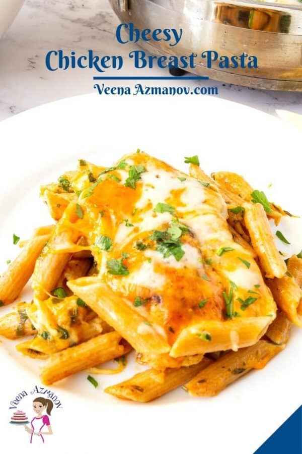 Pinterest image for chicken with pasta.