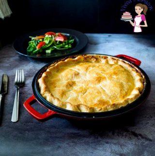 A pan of chicken pot pie.