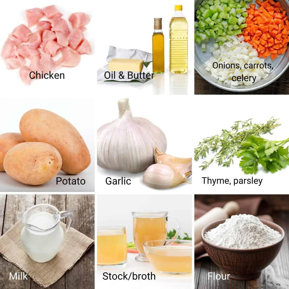 Ingredients shot collage for chicken pot pie.