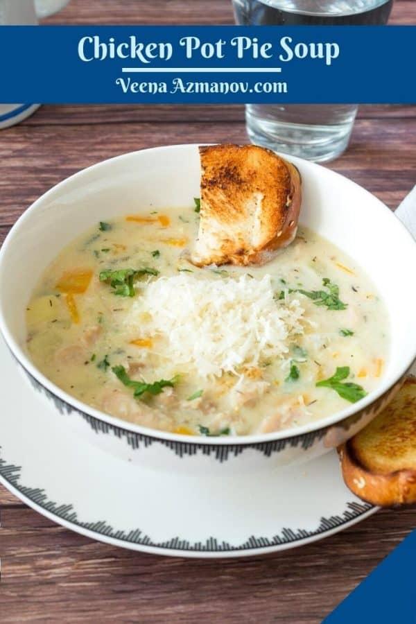 Pinterest image for chicken pot pie soup.
