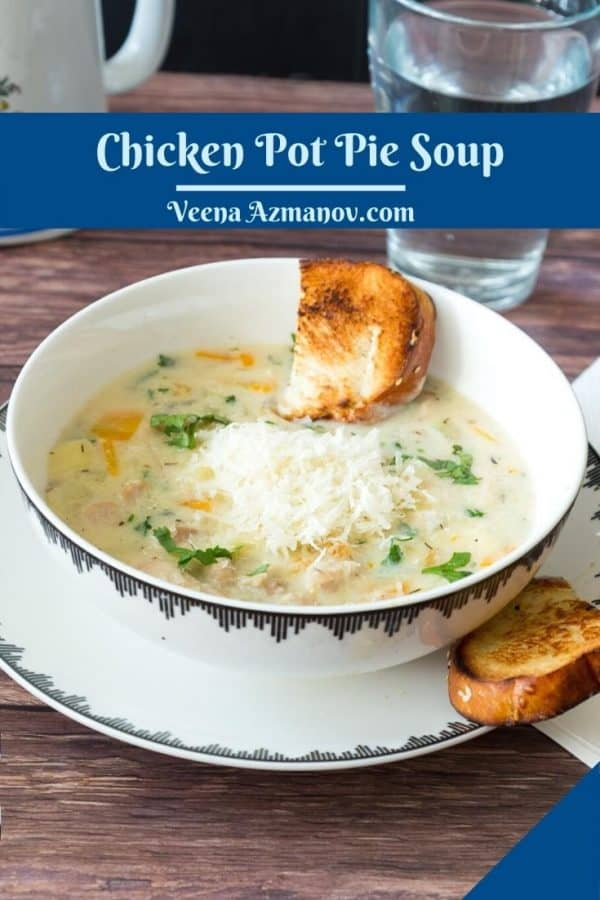 Soup in a bowl with chicken pot pie.