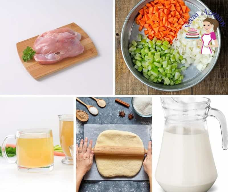 A collage of the ingredients needed to make chicken pot pie.