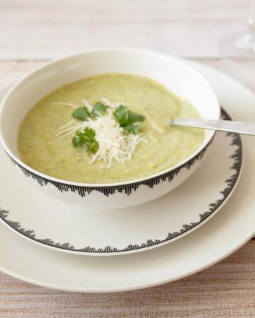 Cream of broccoli soup in a bowl