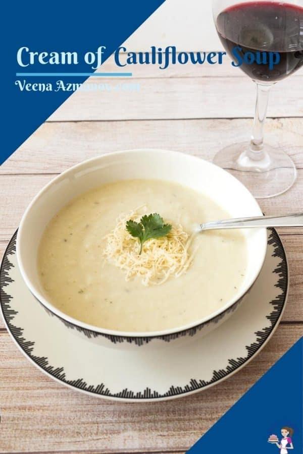 Pinterest image for cauliflower soup