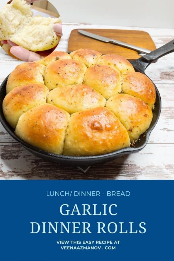Pinterest image for garlic rolls.