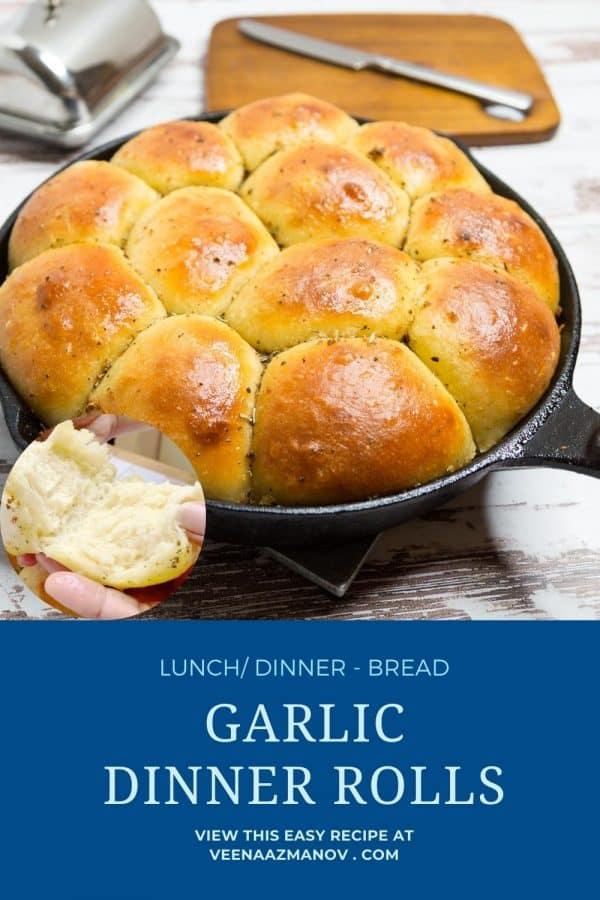 Pinterest image for garlic butter rolls.