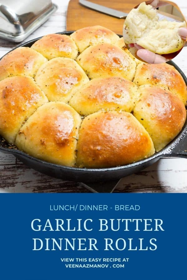 Pinterest image for garlic herb rolls.