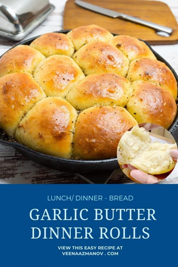 Pinterest image for dinner rolls with garlic herbs.