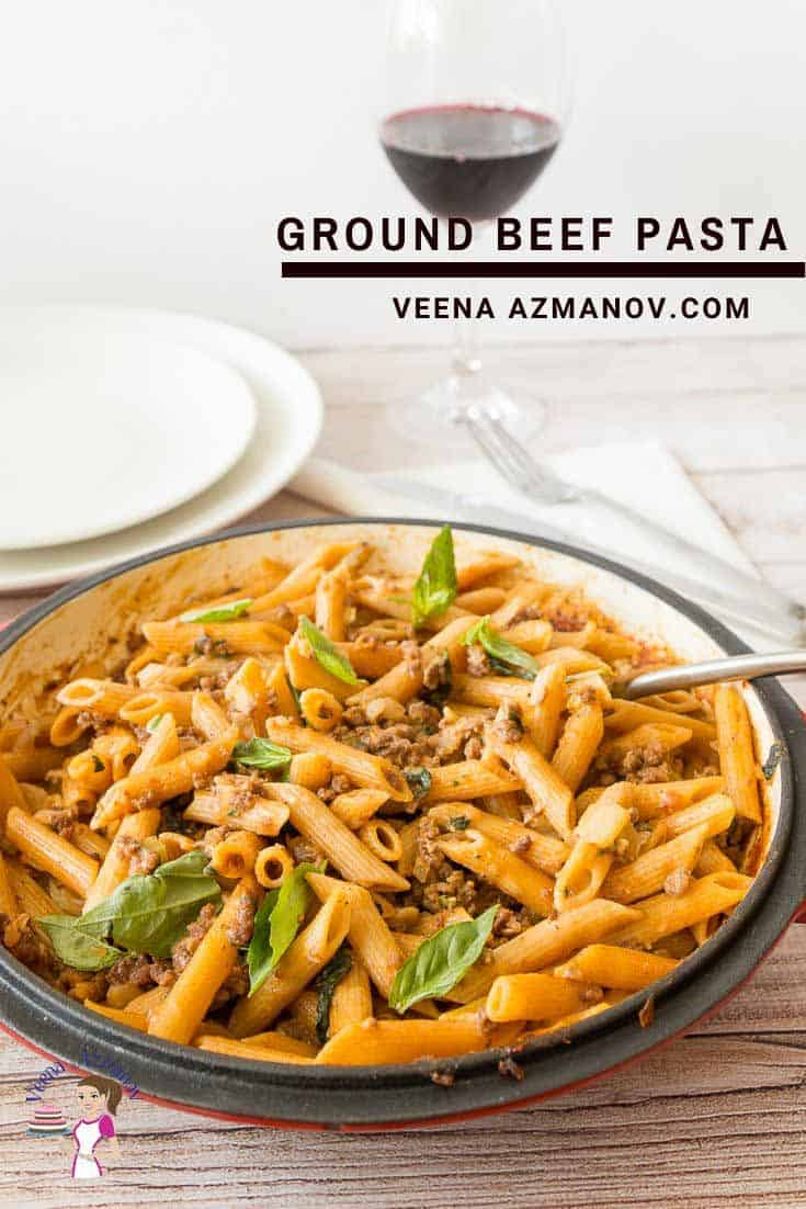 A pan of pasta with ground beef.