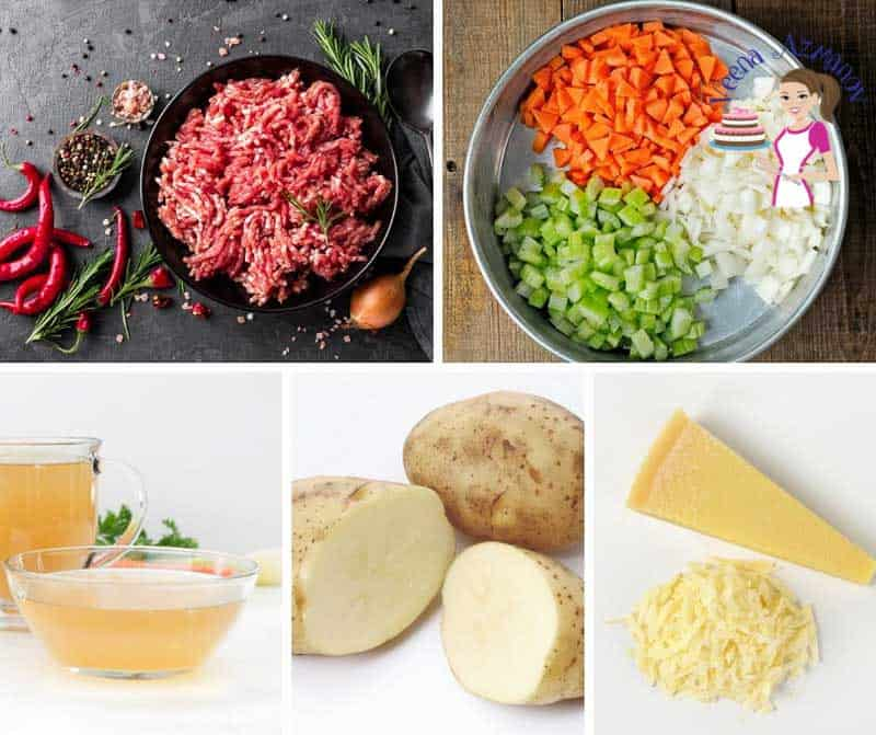 A collage of the ingredients needed for making ground beef soup.