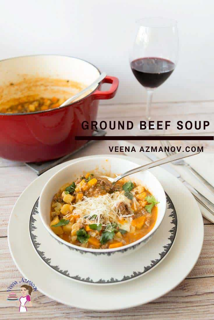 A bowl of ground beef soup.