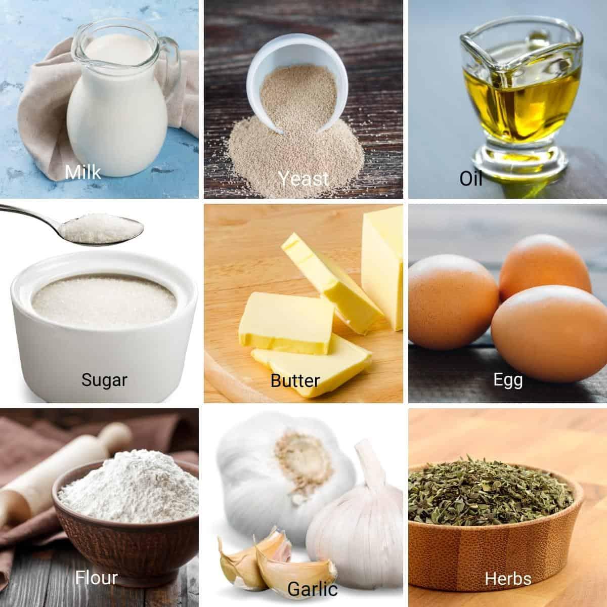 Ingredients for garlic butter rolls.