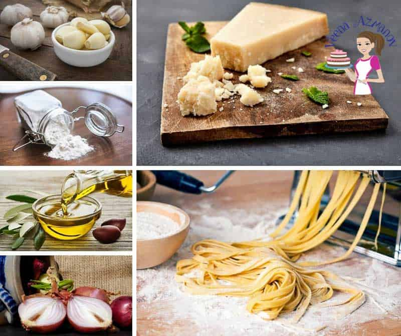 A collage of the ingredients for making pappardelle pasta with lamb.