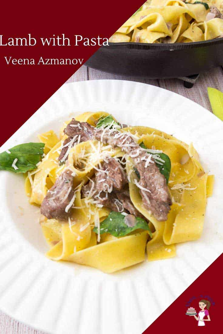 A of pappardelle pasta with lamb.