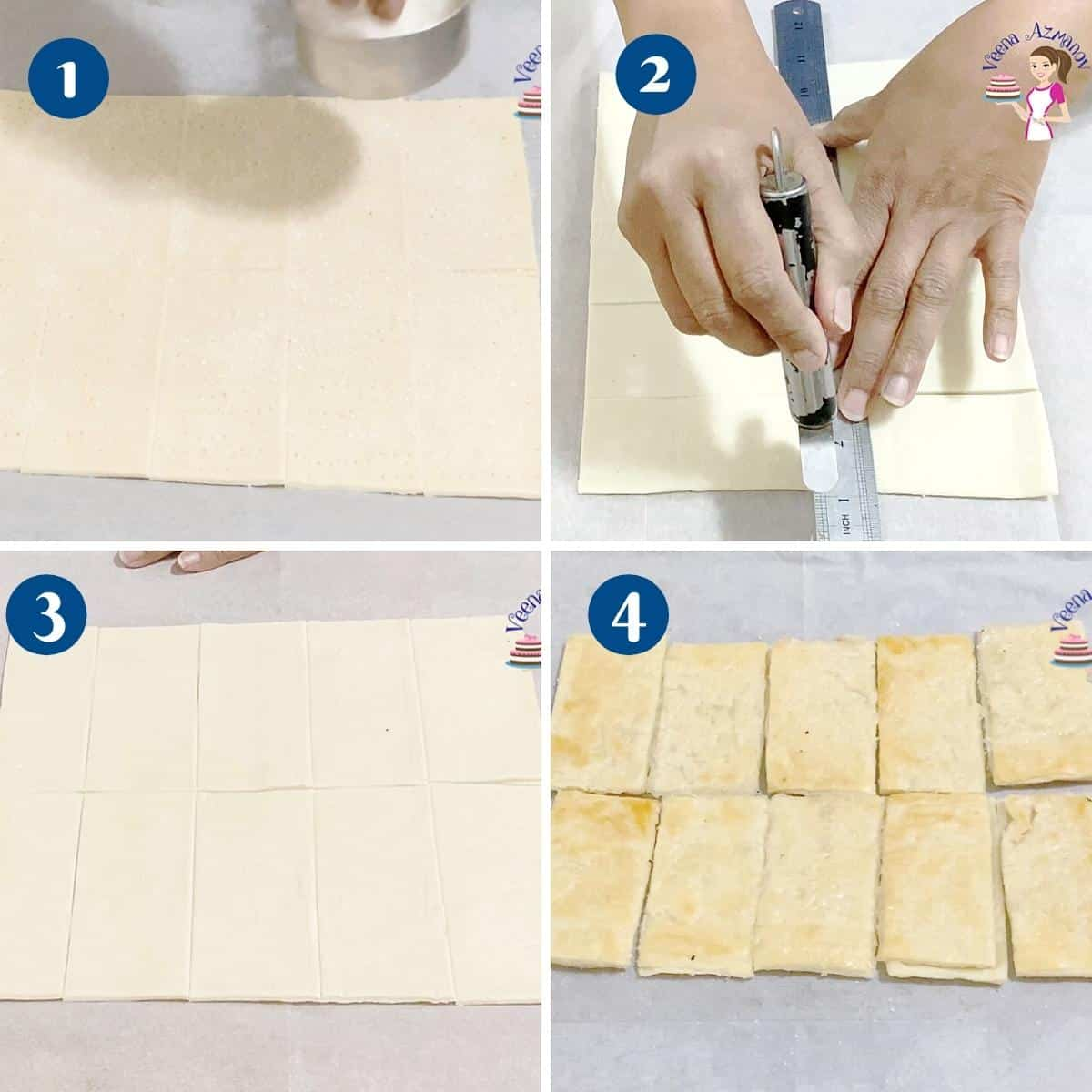 Progress pictures collage preparing puff pastry for Napoleon.
